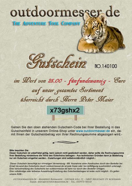 Geschenk-Gutschein 25€ Brief - outdoormesser.de