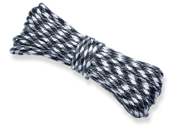 P.cord Paracord 550 Black + White Camo