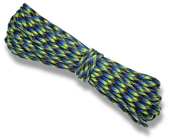 P.cord Paracord 550 Poly Black/Blue/Fluor Camo