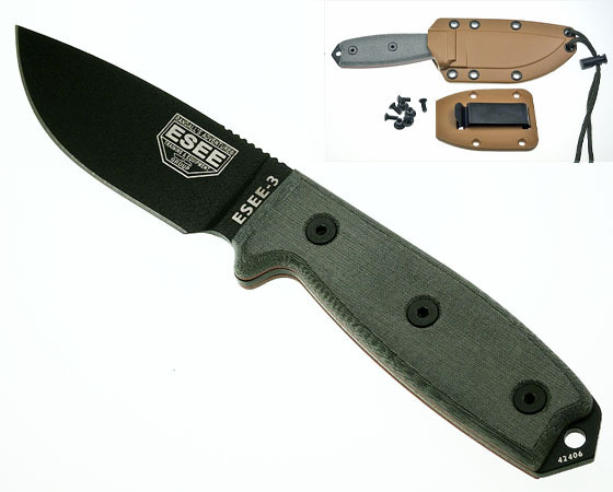 ESEE-3 rounded pommel with coyote-brown sheath