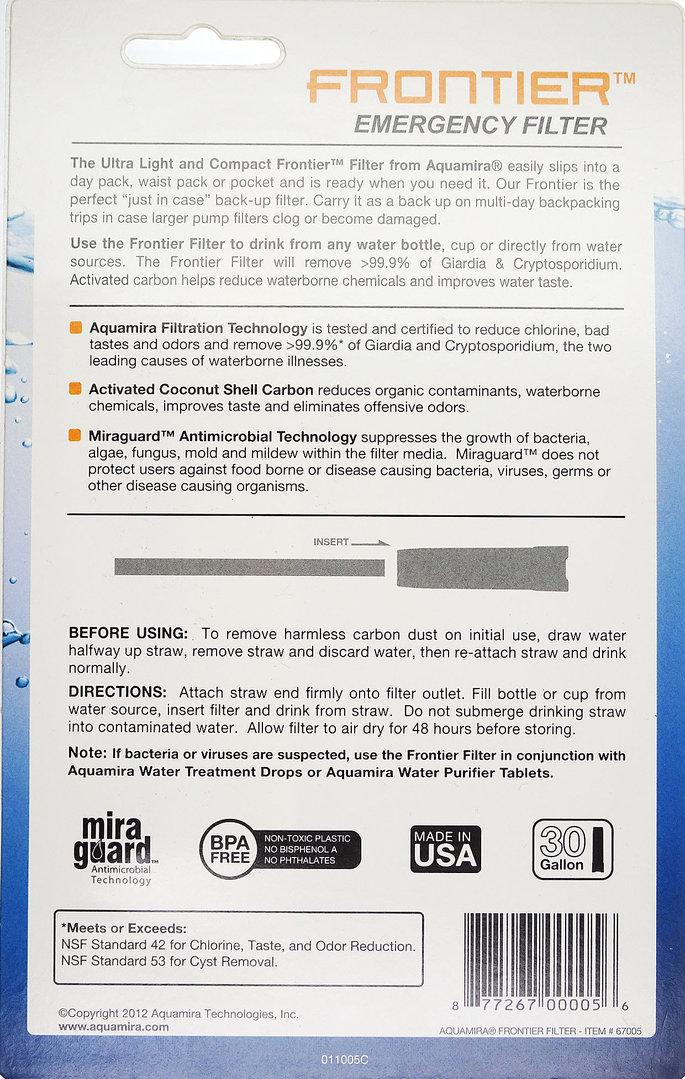Aquamira Frontier Filter Straw BLU-30 67005